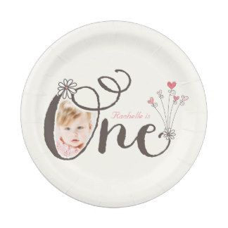 Whimsical One Pink Baby Girl 1st Birthday Photo 7 Inch Paper Plate Custom First 1st Birthday by fatfatin at Zazzle.com - party decor decoration