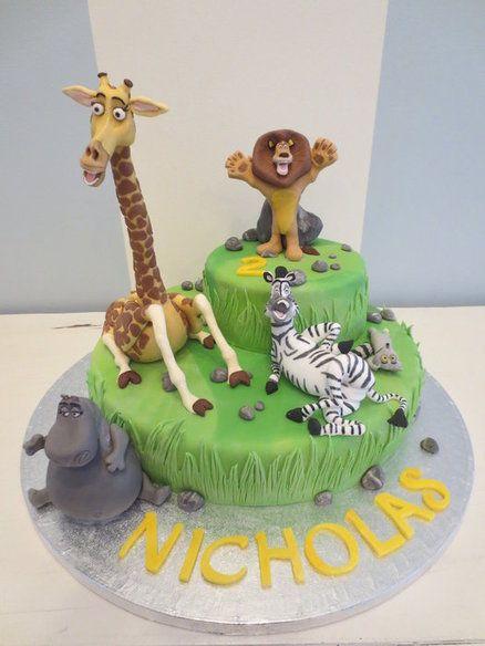 Peachy Madagascar Cake Madagascar Cake Childrens Birthday Cakes Funny Birthday Cards Online Alyptdamsfinfo