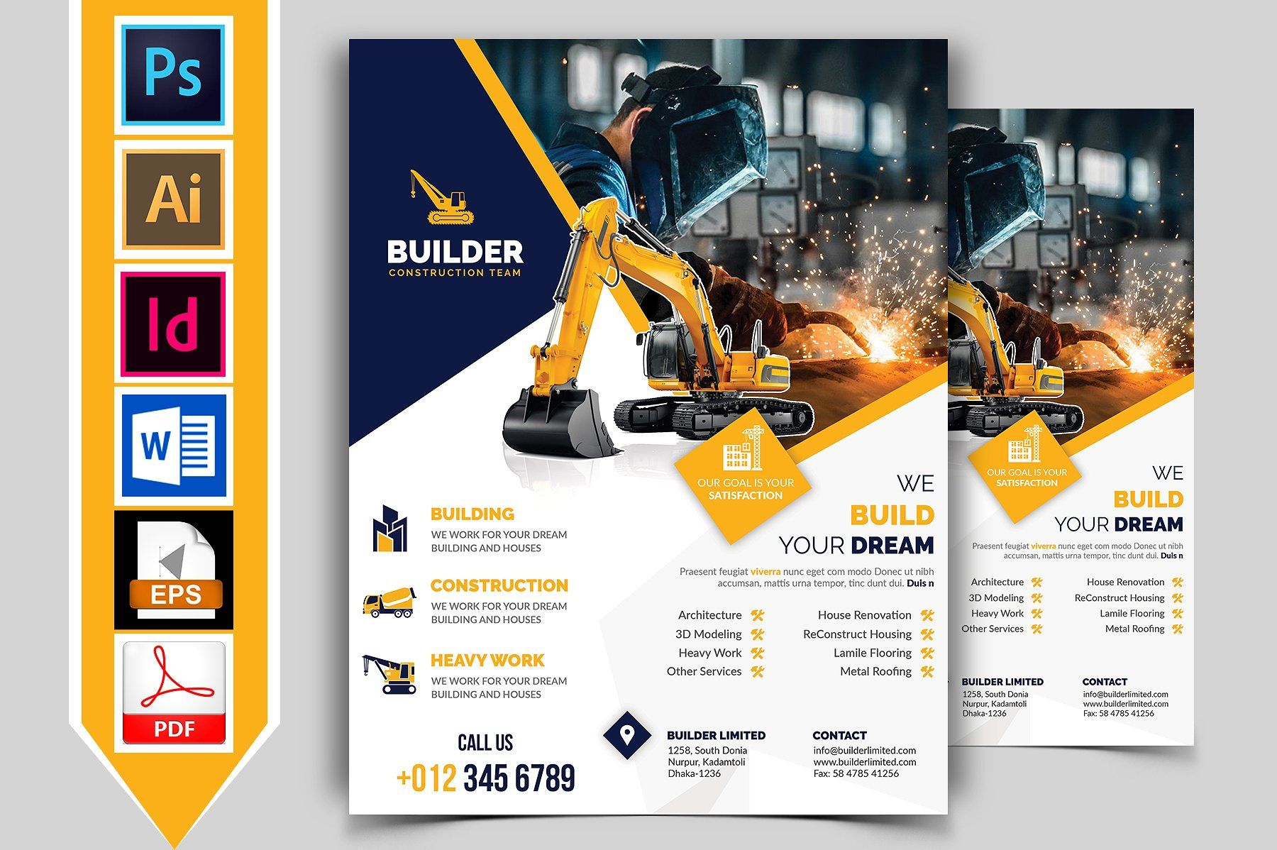 construction flyer template vol 01 easily edit worry skill