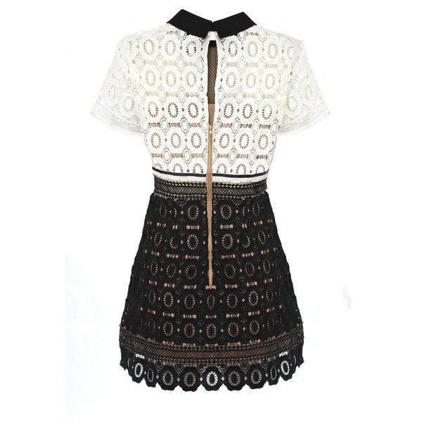 65b4870a89db Self-Portrait Felicia Lace Mix Dress ($380) ❤ liked on Polyvore featuring  dresses, short dresses, white lace cocktail dress, lace mini dress, lace  dress ...