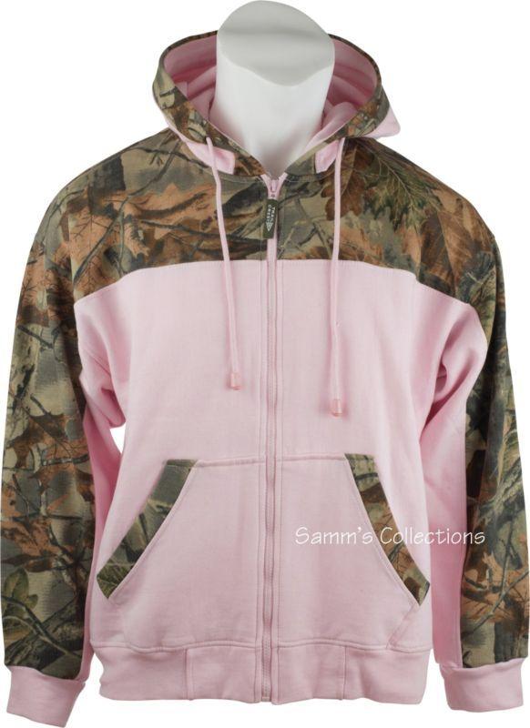 ROSE Hoodie Hooded Sport SWEATSHIRT JACKET Ladies Full Zip CAMO /& PINK Women