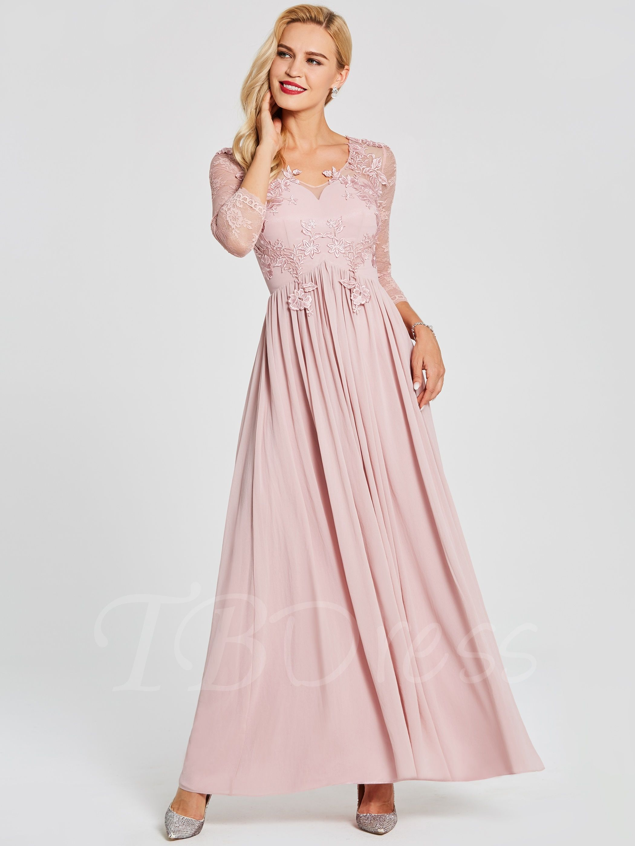 V neck long sleeves lace appliques prom dress rustic colorado