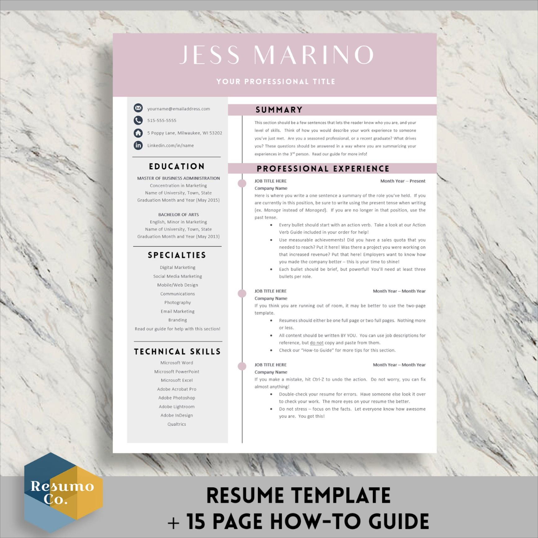 Resume Template for Word & Pages CV Template Modern Resume