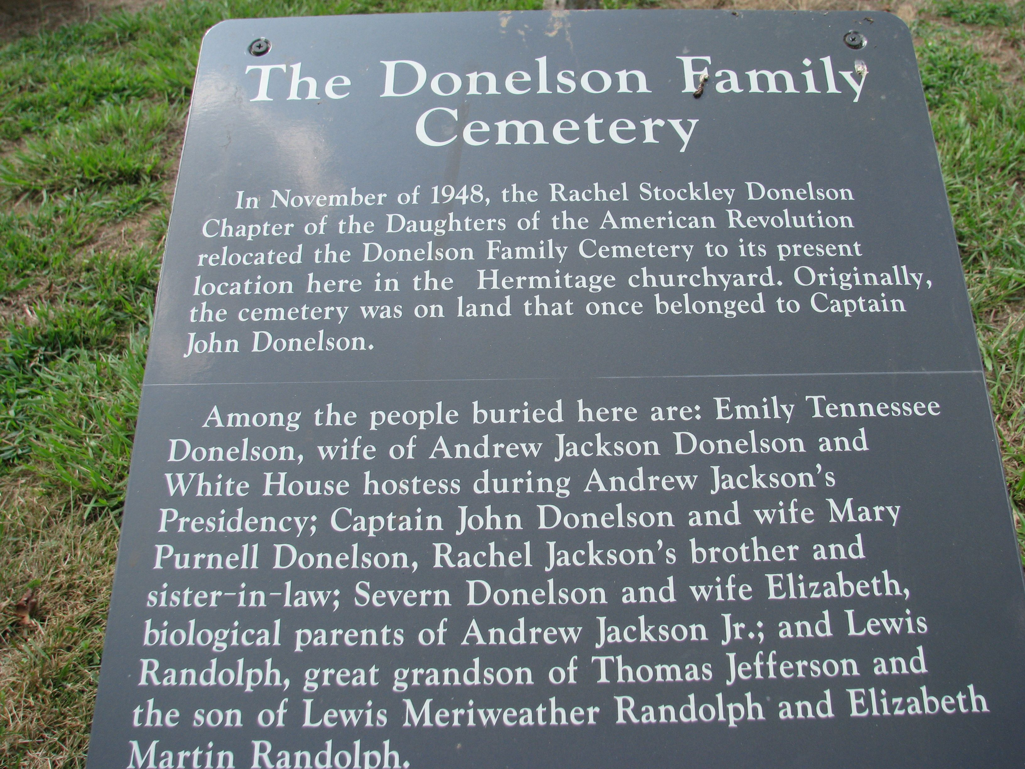 Donelson cemetery at the hermitagenashville tn family