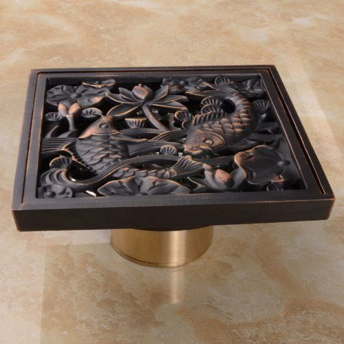Rozinsanitary Oil Rubbed Bronze Finish Square Floor Drain Art
