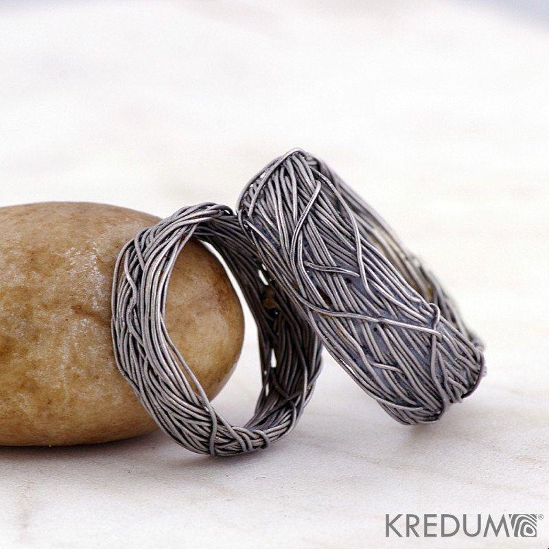 custom wedding ring mens ring womens ring coiled stainless steel wedding ring gordik 8mm
