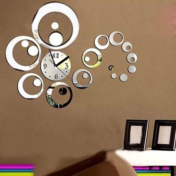 10 Style Trendy DIY 3D Horloge Murale Moderne Pendule Decor Miroir