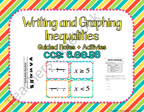 Writing And Graphing Inequalities Guided Notes Activities Ccs 6 Ee B8 Product Fr Graphing Inequalities Graphing Inequalities Activities Writing Inequalities