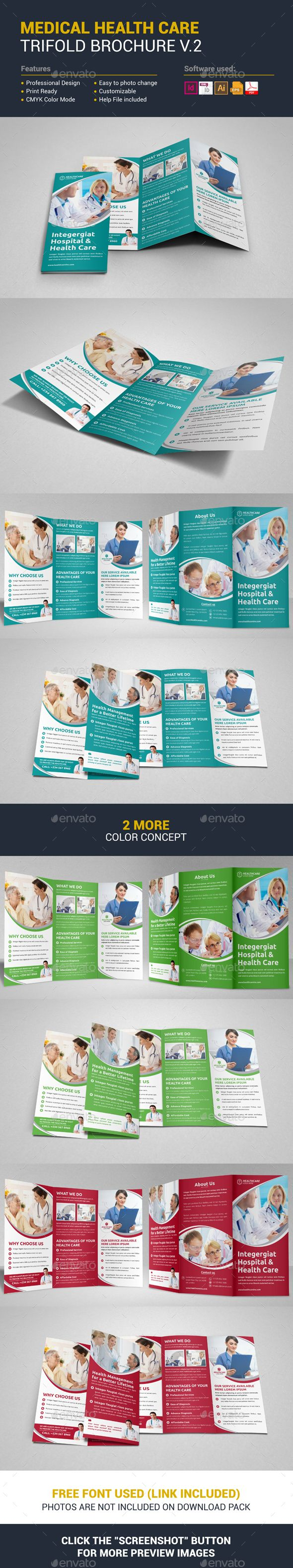 Medical Health Care Trifold Brochure Template Vector Eps Indesign