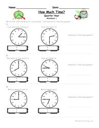 How Much Time Passed Worksheet - To The Quarter Hour   Worksheets ...