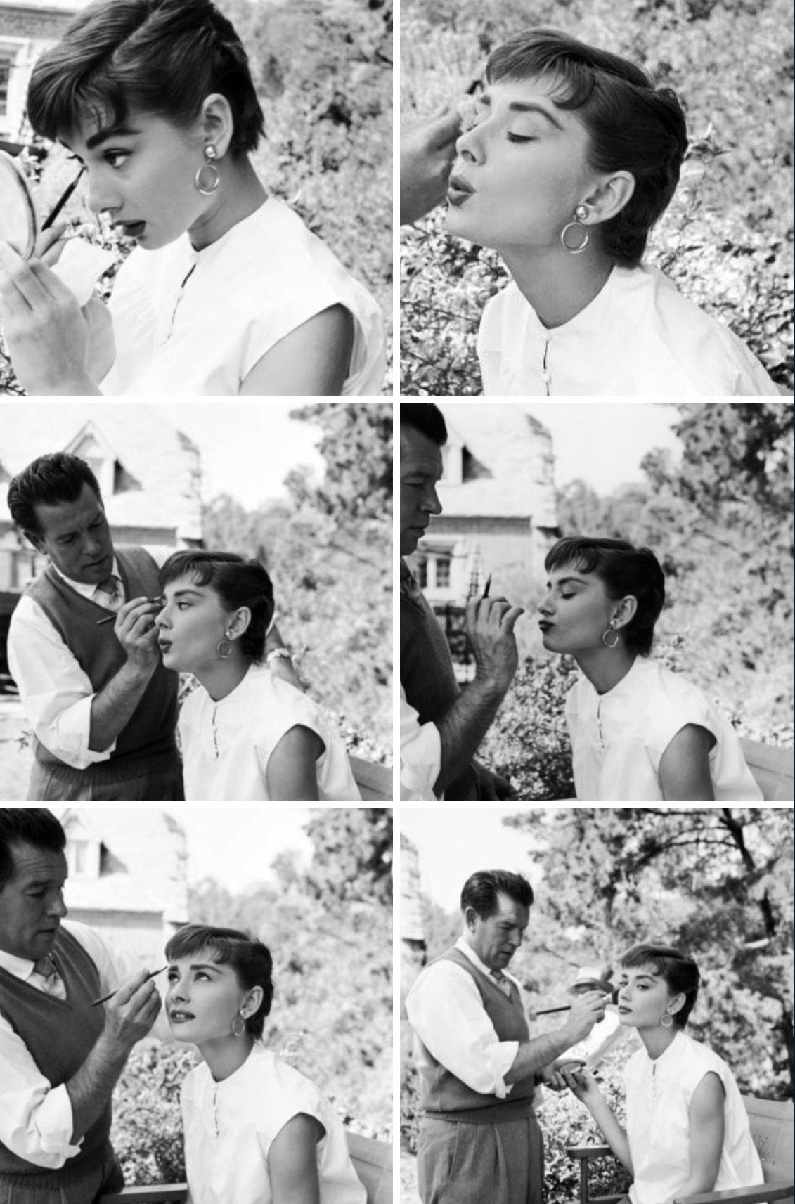 "Audrey Hepburn on the set of ""Sabrina"" 4 (gatabella /Tumblr"