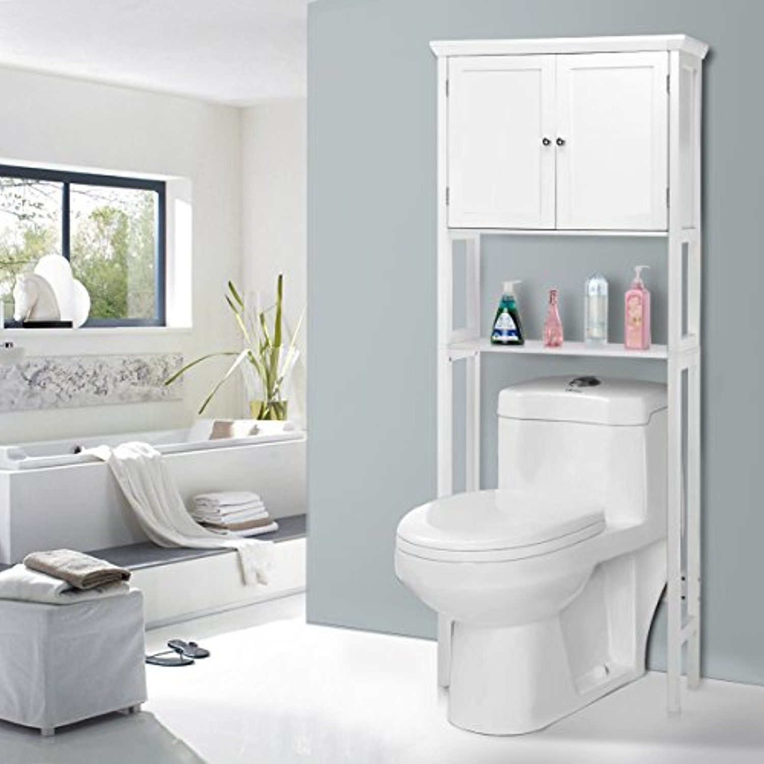 Giantex Over-the-Toilet Bathroom Storage Space Saver with Towel Rack ...