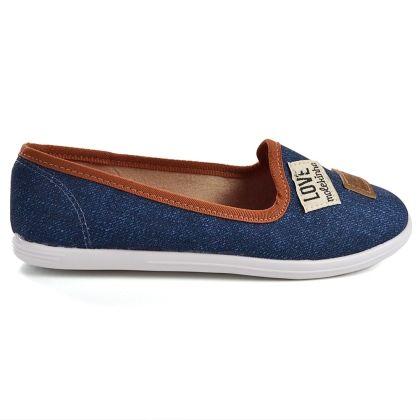 aefdee6554 Slipper Molekinha Jeans - Azul