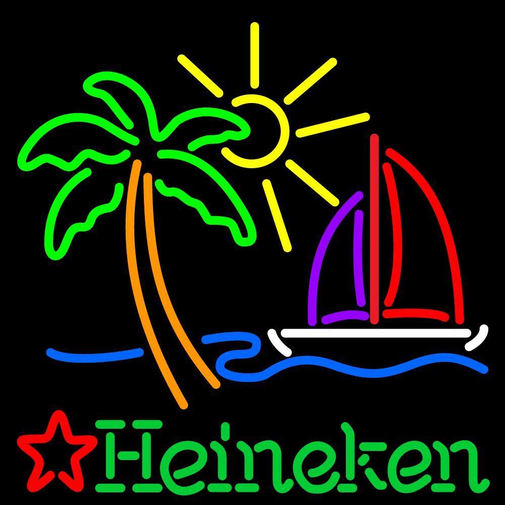 Heineken beer sign with palm tree neon sign 3 heineken
