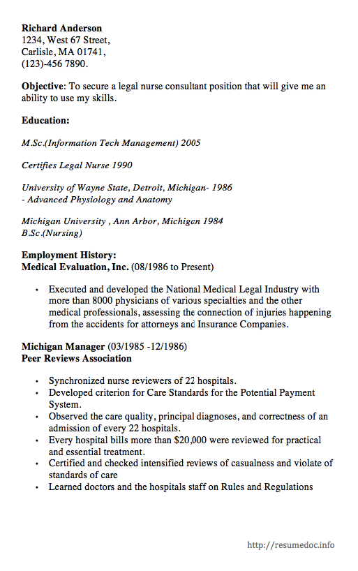 Here Is The Free Example Of Legal Nurse Consultant Resume