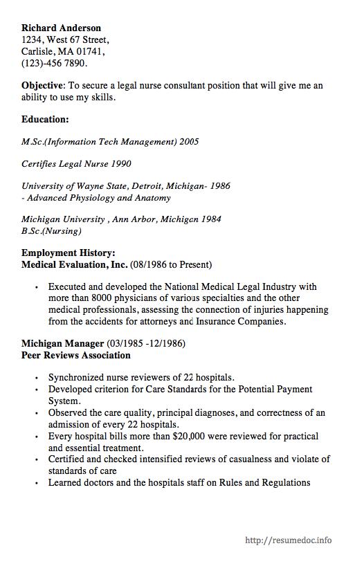 sample resume for legal nurse consultant
