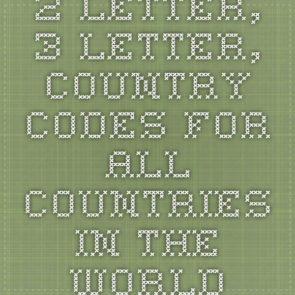 2 letter 3 letter country codes for all countries in the world