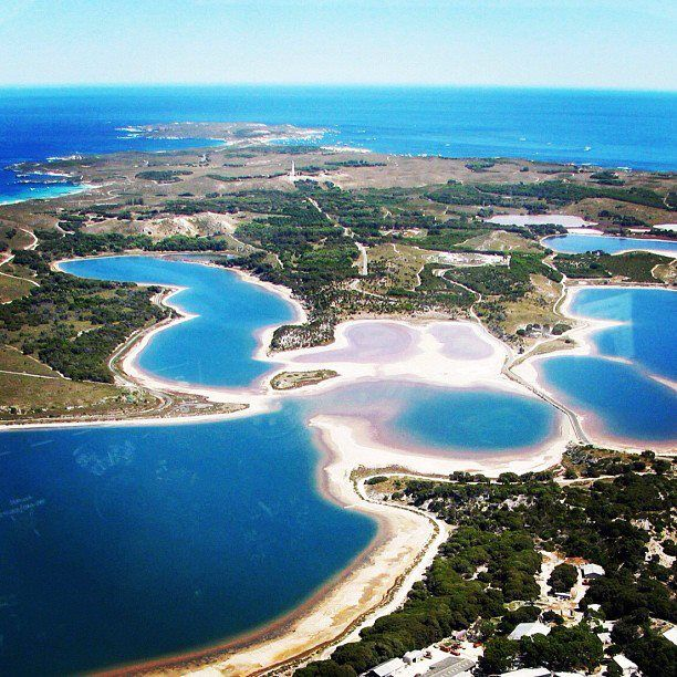 Rottnest Island Australia: Aerial View Looking West Across The Salt Lakes