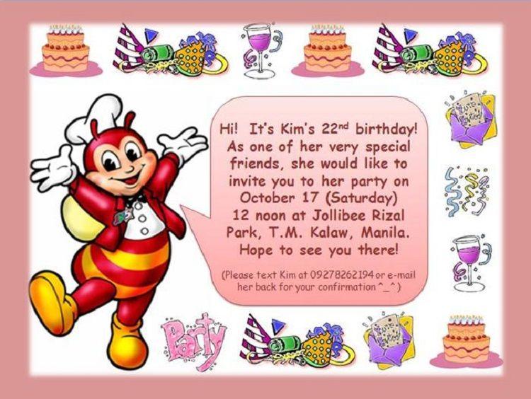 Pink Birthday Invitation Jollibee Cardpedia Com Birthday