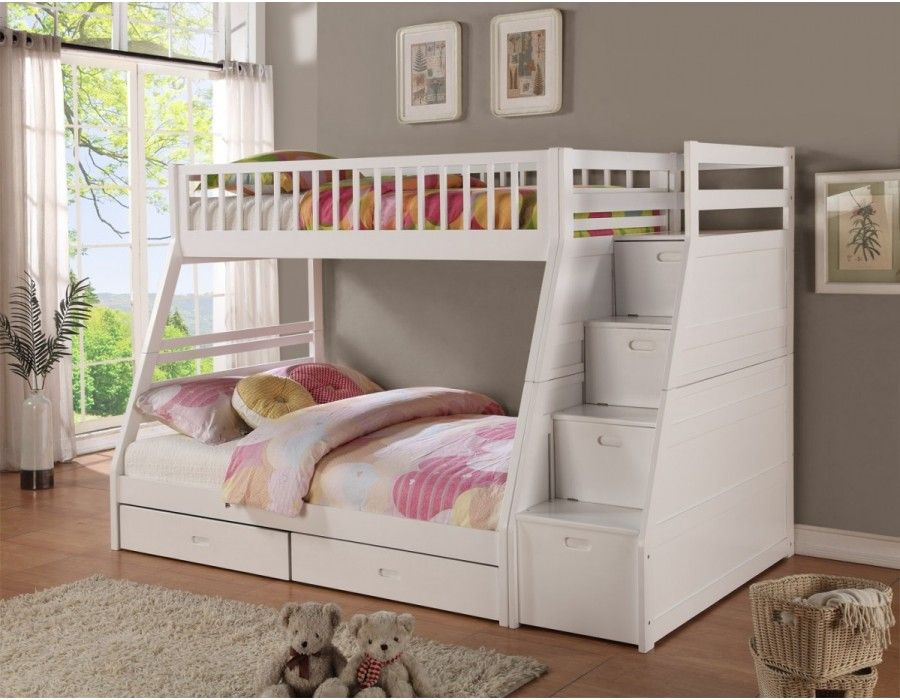 White Staircase Bunk Bedbunk Beds Bunk Beds With Storage Bunk Beds With Drawers Cool Bunk Beds