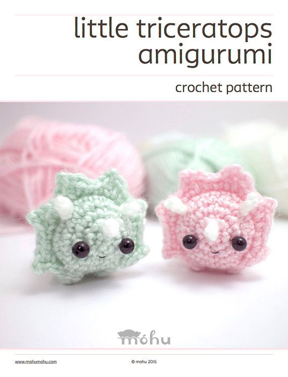 A downloadable crochet pattern for a cute amigurumi triceratops. The pdf file contains a written crochet pattern, an extra crochet chart for the triceratops frills, detailed assembly instructions, and lots of photos. *This is not a finished item. For ready-made amigurumi animals, look #crochetdinosaurpatterns
