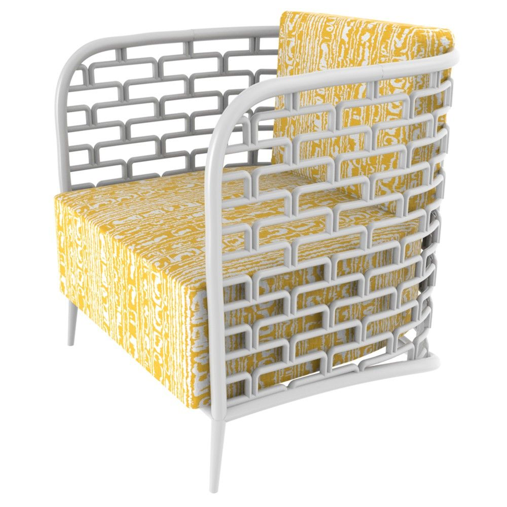 """Rattan is carefully hand bent and stacked into rectangles to create the iconic Florence Broadhurst design """"Steps"""".    *Shown with """"Waterweave"""" fabric."""