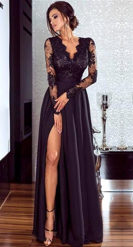 Elegant A-Line V Neck Long Sleeve Black Satin Long Prom Dresses with Lace,Split Evening Dresses