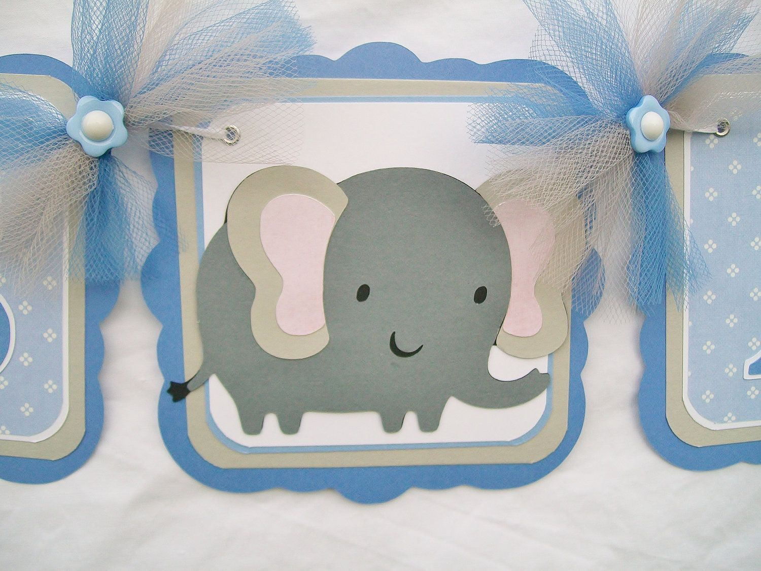 blue and grey elephant baby shower garland