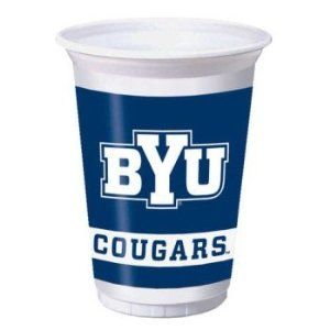 BYU Cougars 20 oz. Plastic Cups 8 Pack by Creative Converting. $5.99. From the Brigham Young University Party Supply Collection. BYU Cougars Party Cups. Show your true colors with these tailgate party cups. Featuring authentic dark blue and white team colors and BYU team logo. Includes 8 plastic cups that hold 20 ounces.