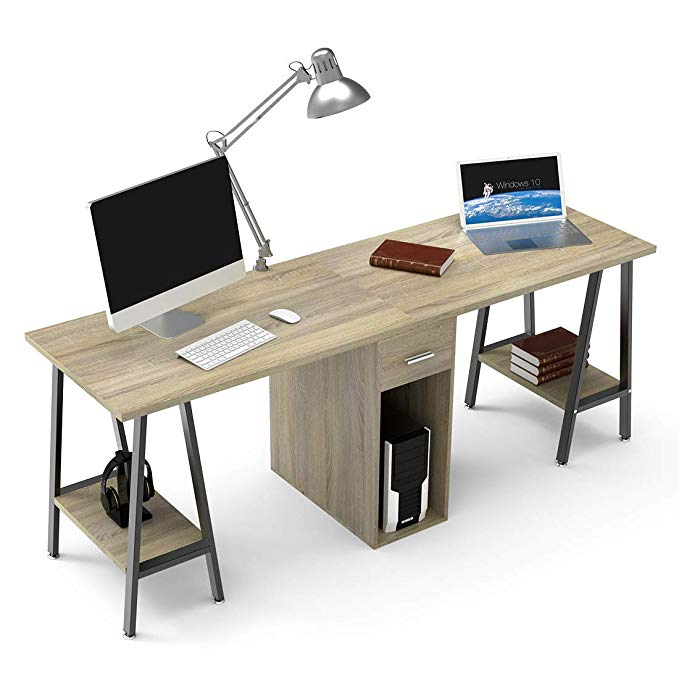 Amazon Com Dewel Two Person Computer Desk With Drawers 78 Extra Large Long Computer Desk Double Workstation Co Desk With Drawers Two Person Desk Office Desk