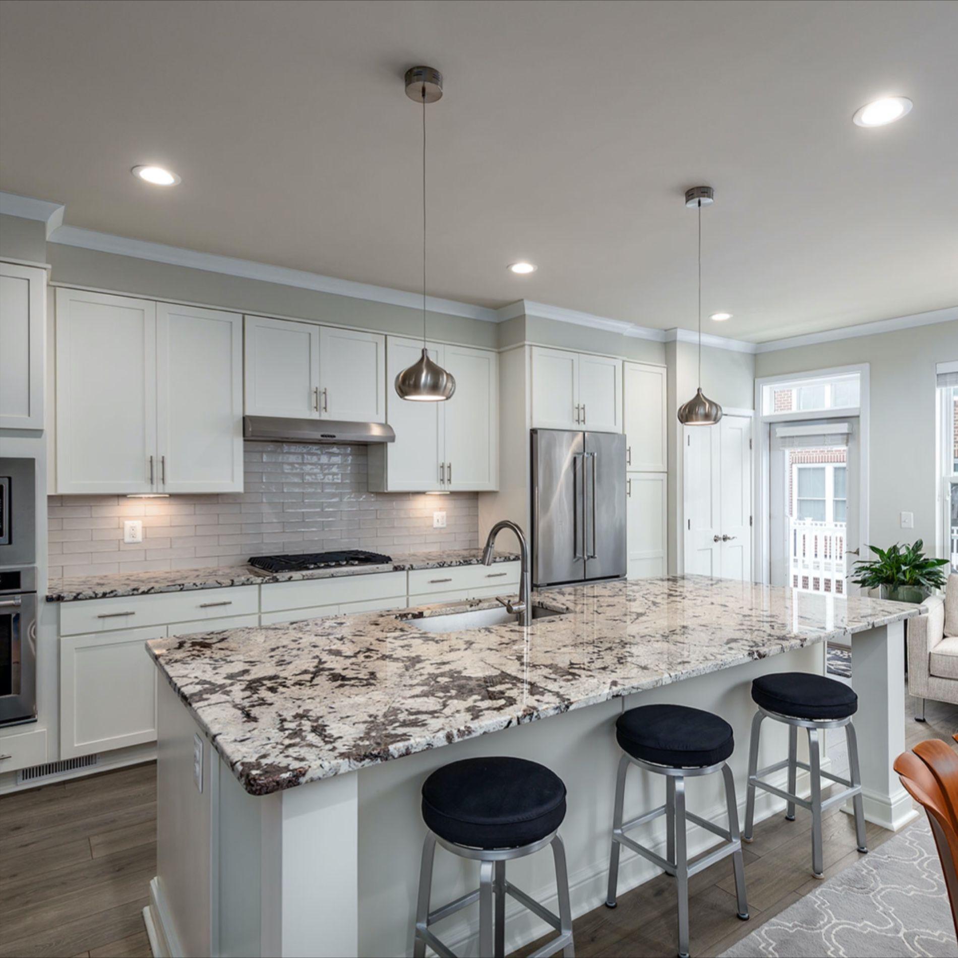 Gourmet Chef S Kitchen Chefs Gourmet Kitchen In 2020 Backsplash Kitchen White Cabinets Gray Cabinets White Countertops Grey Kitchen Island