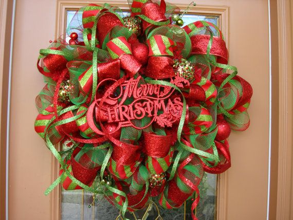 Deco Mesh Red and Green Holiday Wreath by DecoDzigns on Etsy cute