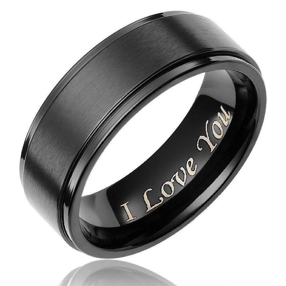 8mm I Love You Black Titanium Mens Ring Promise rings