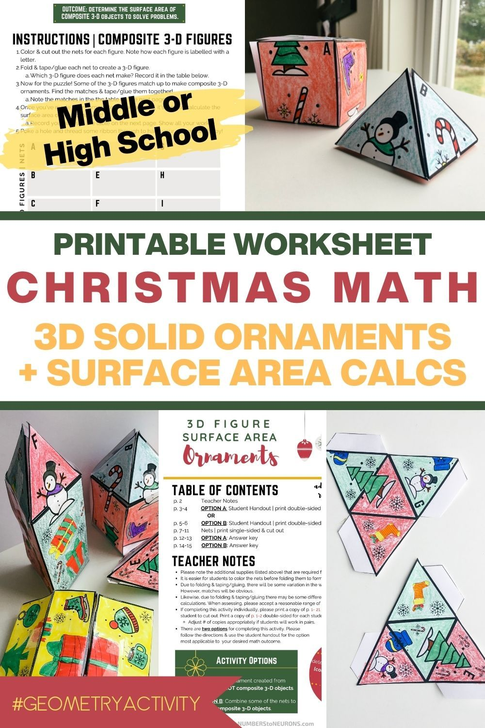 Printable Christmas Math Activity   3D Geometry for Middle or High School   Christmas  math [ 1500 x 1000 Pixel ]