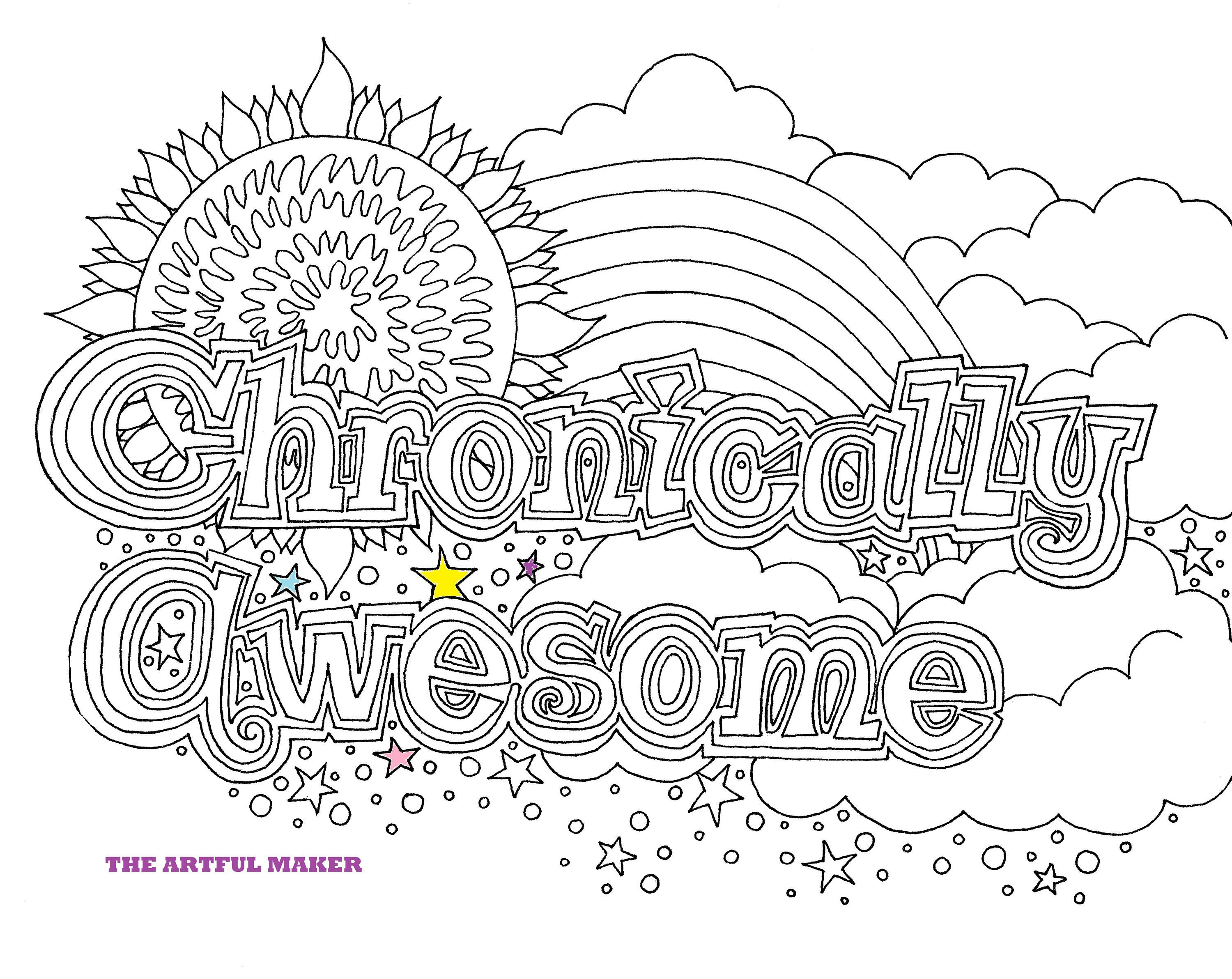 Chronically Awesome Printable Coloring Page By The Artful Maker Love Coloring Pages Coloring Pages Coloring Pages Inspirational