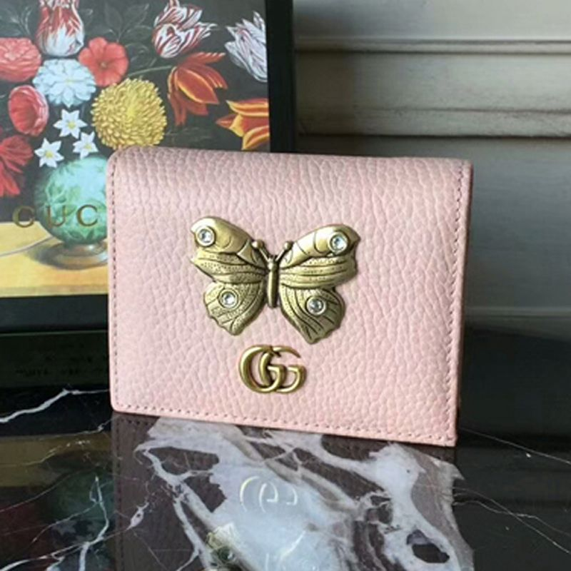 best service c1854 f0d91 Gucci Leather Card Case With Butterfly Wallet 499361 Pink | Gucci in ...