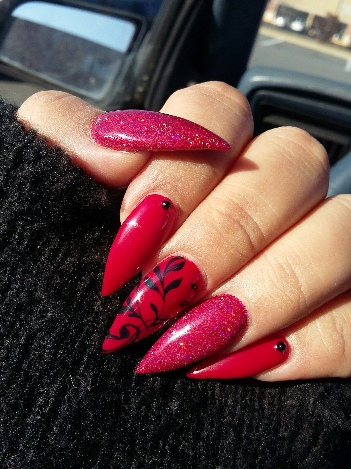 Red Holo Stiletto Nails And Hand Painted Filigree Summer