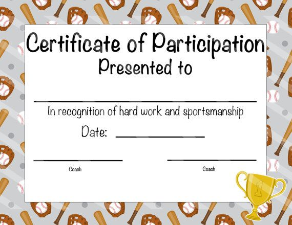 Baseball Certificate Of Participation  Baseball Award  Print At