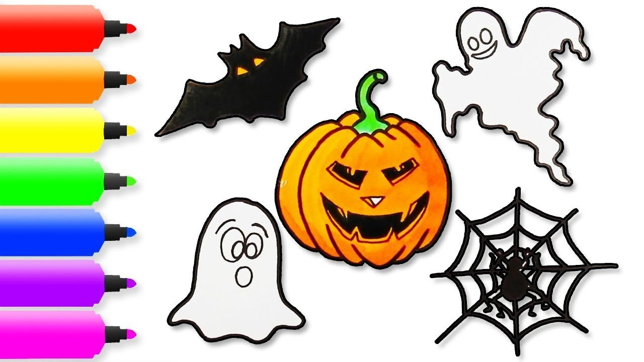 How to Draw Halloween Drawing, Coloring Page for Kids, Draw a Scary ...