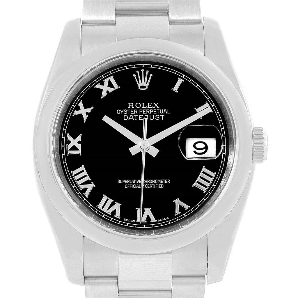 11328 Rolex Datejust Steel Black Roman Dial Oyster