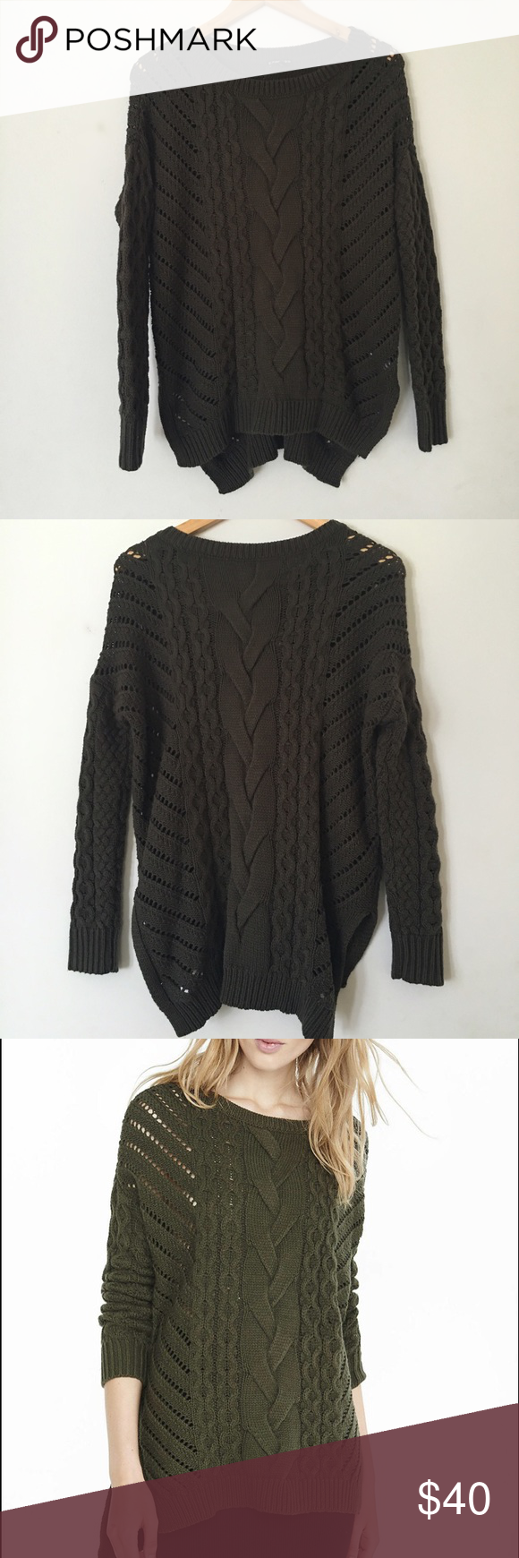 ❗️FLASH SALE❗️Express Green Cable Knit Sweater | Cable knit ...