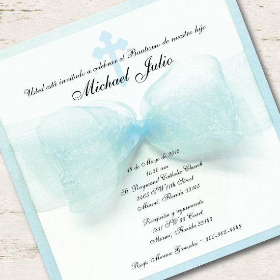 Spanish Boy Baptism Invitation Christening Blue Ribbon