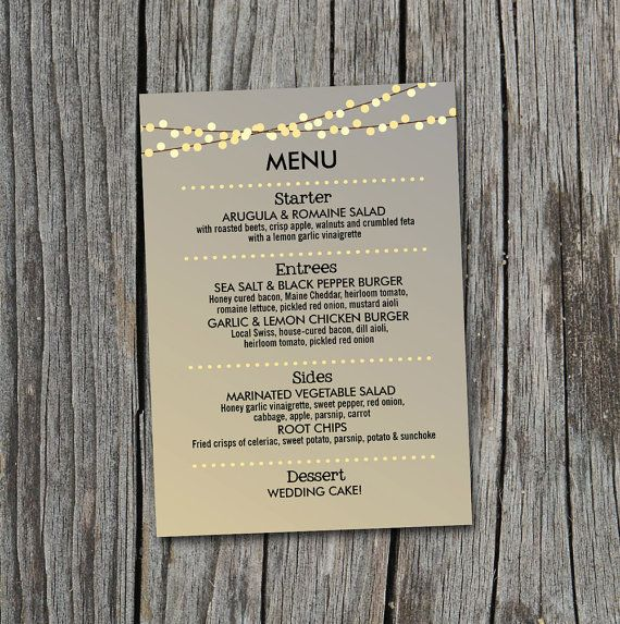 DIY Printable Wedding Menu with Lights by themunch on Etsy