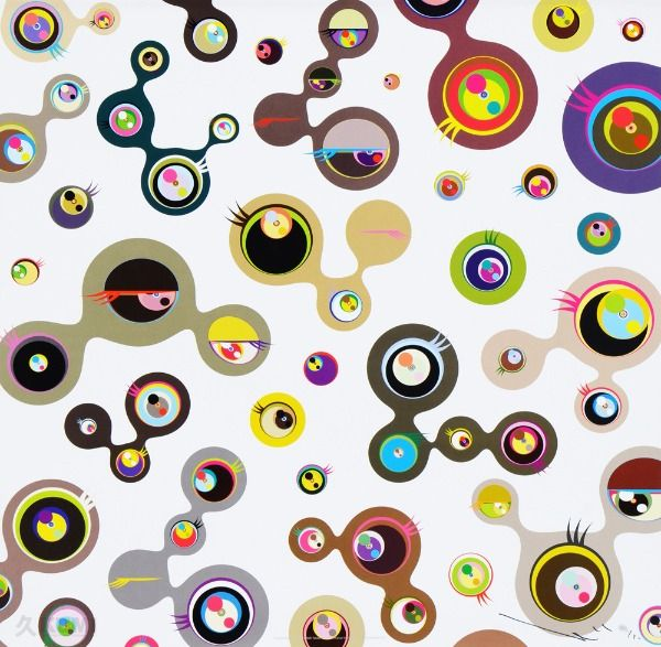 Takashi Murakami Jellyfish Eyes White Simple bold shapes yet interestingly juxtaposed, this work by Murakami creates graphics that are minimal. The choice of colour with its ever vibrant qualities infused with murky hues creates contrast between the shapes which they become distinctive. The graphics that are created is quite vague, they seem to appear as eyes or is it something else?