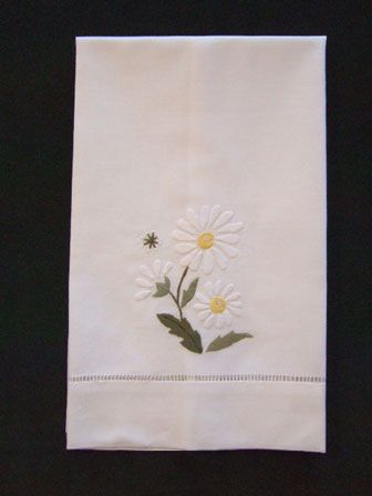 Marguerite daisy embroidered linen hand towel - guest towel