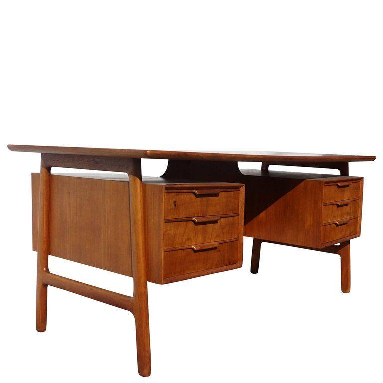 20th Century Danish Writing Desk Made Of Cherry And Beechwood With Three Drawers On Each Side Circa 1960 Denmark Scandinavia Writing Desk Modern Desk Desk