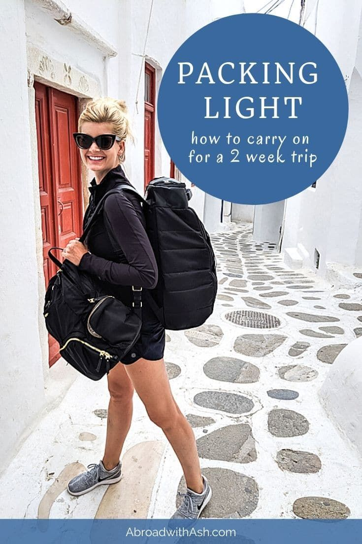 Travelling Light - 10 tips to carry-on for a 2 week trip.  Discover the art of travelling light! Carry on for your next 2 week trip with these 10 packing tips. You'll never go back to your old packing ways again! #travellinglight #travelinglight #travelli