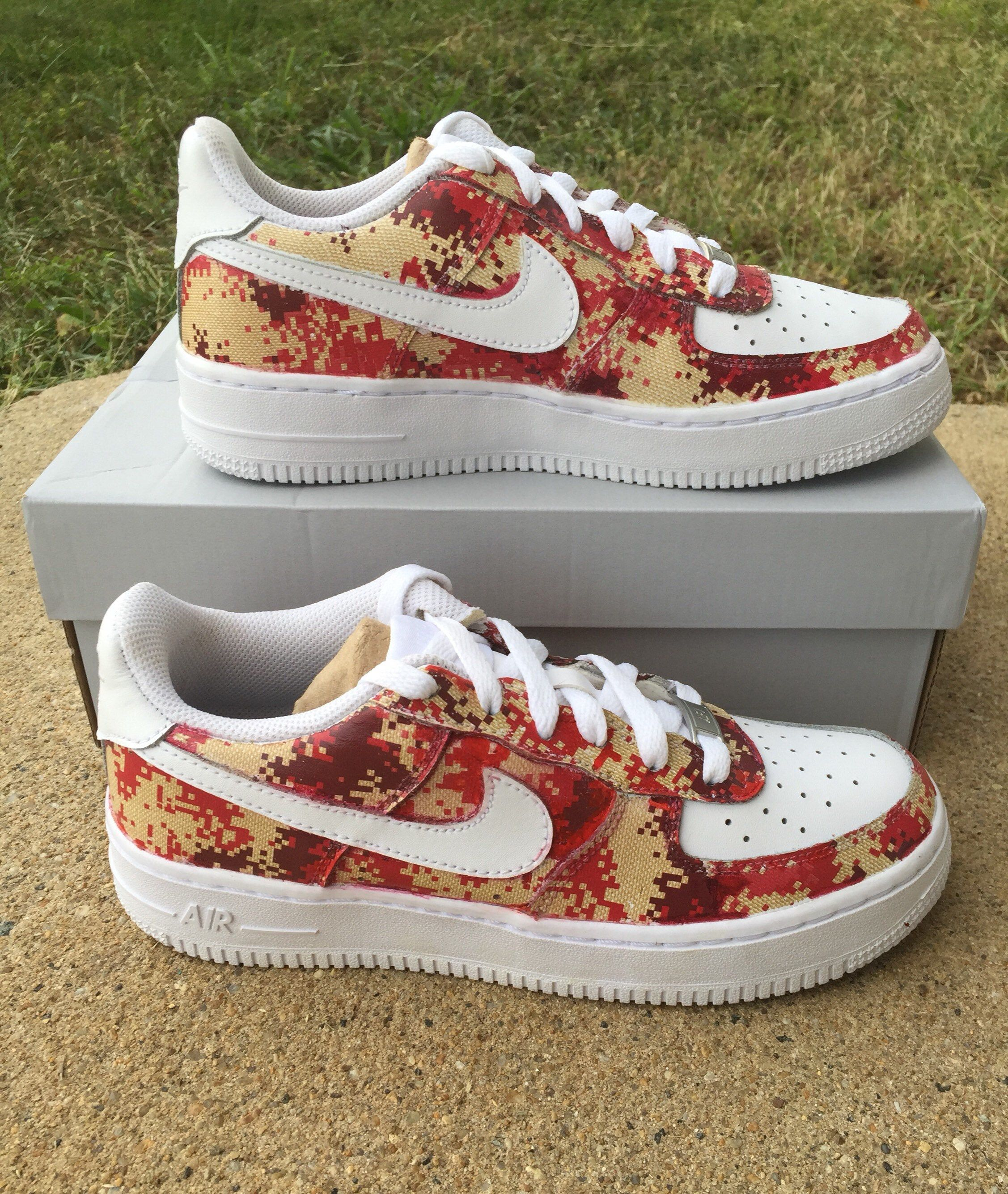 Excited To Share This Item From My Etsy Shop Custom Digital Camo Red Tan Air Force 1 Hydro Dipped Nike Air Force Ones Nike Air Force Digital Camo