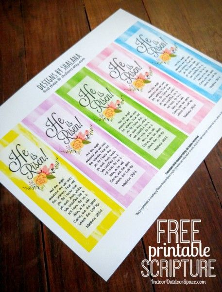 Free Printable Scripture He Is Risen Easter Bookmarks | Indoor Outdoor Space