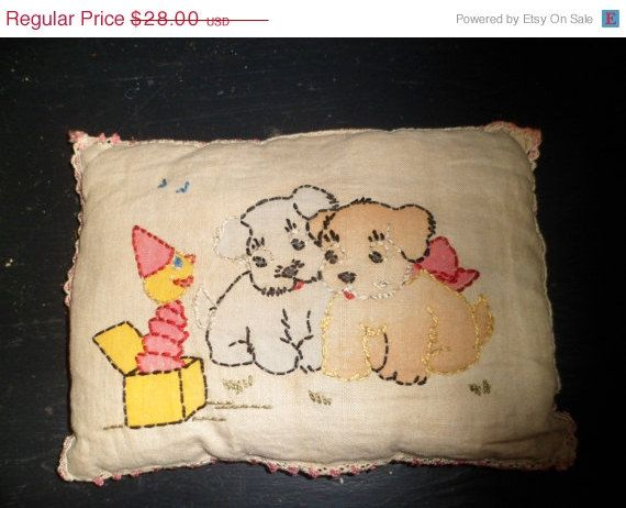 SPRING SALE Adorable #Vintage #Baby Pillow 1920's by thelongacreflea on Etsy, $23.80